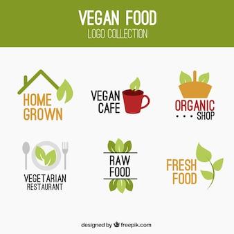 Simpáticos logotipos de comida vegana