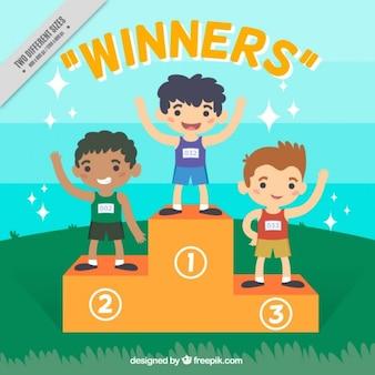 Simpáticos niños ganadores