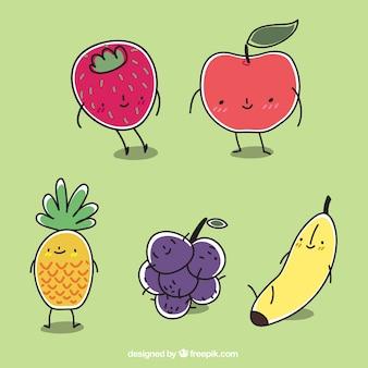 Simpáticos personajes de frutas dibujados a mano