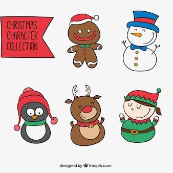 Simpáticos personajes navideños dibujados a mano
