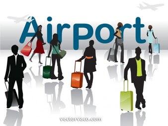 Simples siluetas de viaje al aeropuerto