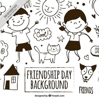 Simpático fondo de bocetos del día de la amistad