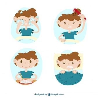 Simpático niño haciendo acciones diarias dibujado a mano