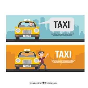Simpáticos banners de servicio de taxi