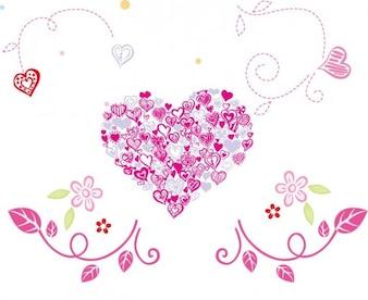 Sin corazón floral hermosa ilustración vectorial