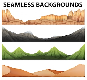 Sin fisuras antecedentes con diferentes tipos de montañas