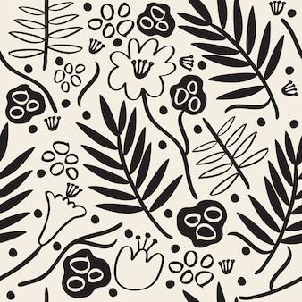 Sin fisuras monocromo dibujado a mano flor y hojas de patrón de fondo