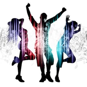 Slhouettes de personas bailando en las notas de música de fondo