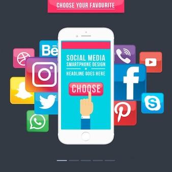 Smartphone con los iconos de los medios sociales
