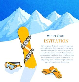 Snowboard invierno paisaje de montaña retro tarjeta de invitación marco ilustración vectorial