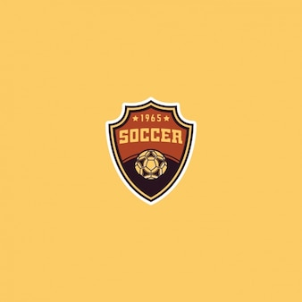 Soccer logo on a yellow background