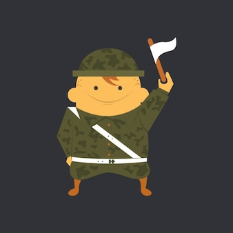 Soldado plana con la bandera blanca