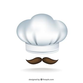Sombrero del cocinero y bigote