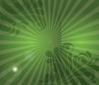 sunburst verde con esquinas florales