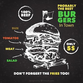 Super hamburguesa dibujada a mano