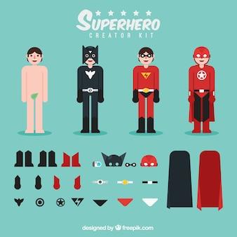 Superhéroe con diferentes tipos de ropa