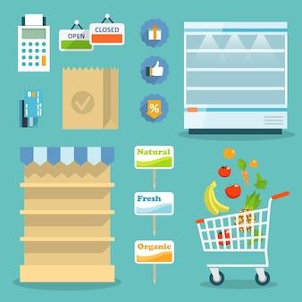 Supermercado concepto de sitio web en línea con surtido de alimentos, horarios de apertura y opciones de pago iconos ilustración vectorial