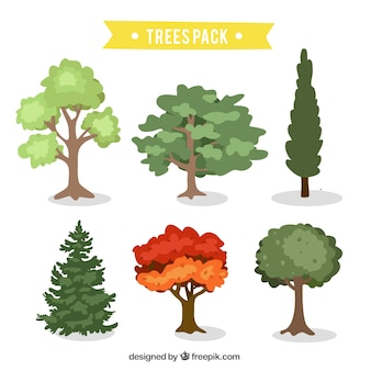 Surtido de árboles dibujados a mano
