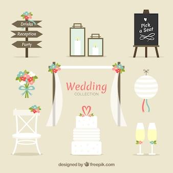 Surtido de elementos de boda con flores decorativas