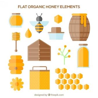 Surtido de elementos de miel en diseño plano