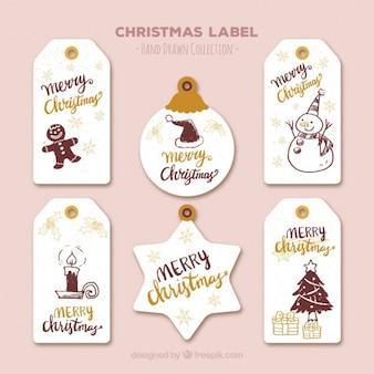 Surtido de etiquetas de navidad con dibujos