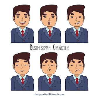 Surtido de hombre de negocios dibujado a mano con caras expresivas