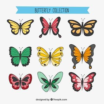 Surtido de nueve mariposas dibujadas a mano