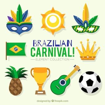 Surtido de objetos de carnaval de brasil