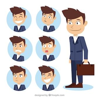 Surtido de personaje de hombre de negocios con fantásticas caras expresivas