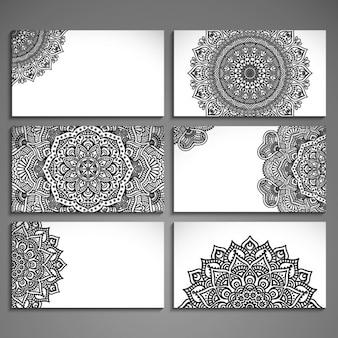 Surtido de tarjetas con dibujos abstractos étnicos