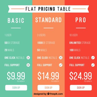 Tablas de precios de colores en diseño plano