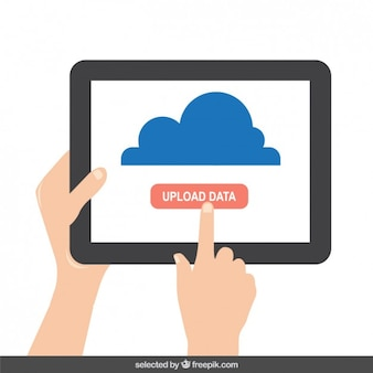 Tablet con el botón de los datos de carga en la pantalla