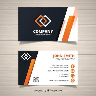 Tarjeta abstracta corporativa con detalles naranjas
