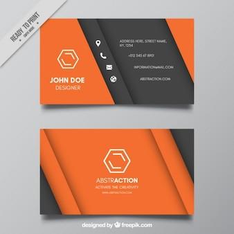 Tarjeta abstracta de negocio gris y naranja