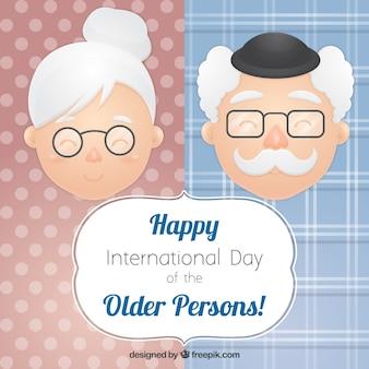 Tarjeta adorable del día internacional de las personas mayores