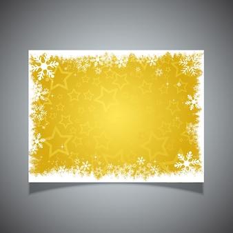 Tarjeta amarilla de estrellas y copos de nieve