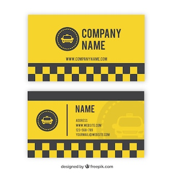 Tarjeta amarilla de taxi con cuadros