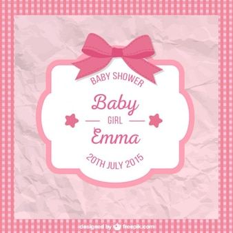 Tarjeta arrugada de bienvenida del bebé para niña