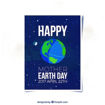 Tarjeta azul oscuro con planeta tierra para el día de la madre tierra