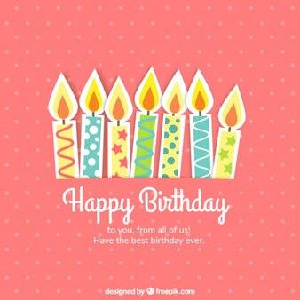 Tarjeta bonita de cumpleaños con velas