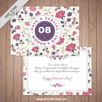 Tarjeta bonita del día de la mujer de flores rosas