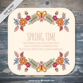 Tarjeta bonita primaveral dibujada a mano
