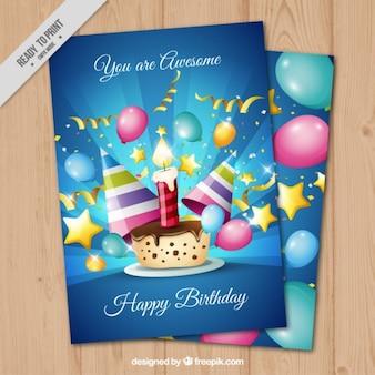 Tarjeta brillante de cumpleaños con pastel de cumpleaños