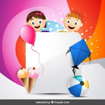Tarjeta colorida con el niño y la niña