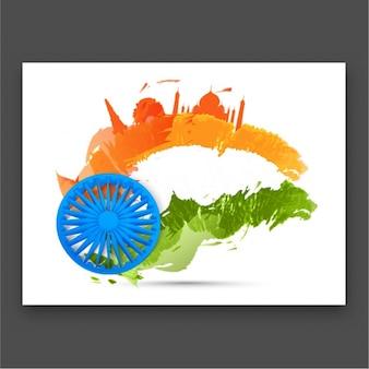 Tarjeta colorida con siluetas para el día de la república india