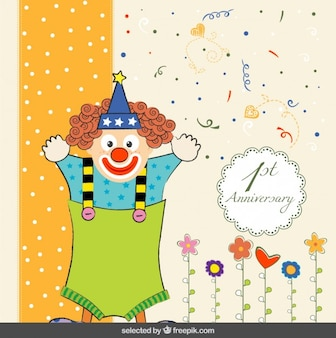 Tarjeta colorida de primer aniversario con un payaso