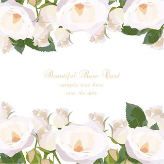 Tarjeta con diseño de rosas blancas