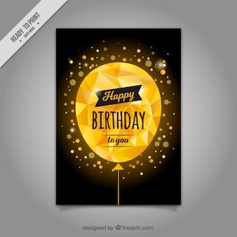Tarjeta con globo dorado poligonal