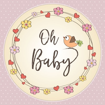 Tarjeta con lindas floras para la fiesta del bebé