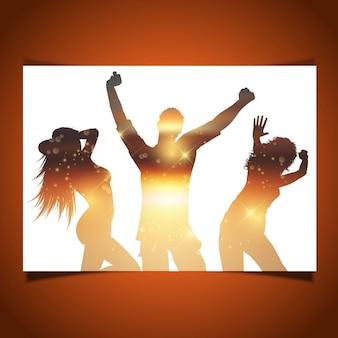 Tarjeta con siluetas de personas bailando